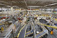 Interior view of the Amazon Fulfillment Centre near Swansea, Wales, UK