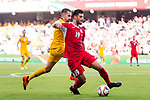 Anas Bani-Yaseen of Jordan (R) battles for the ball with Jamie Maclaren of Australia (L) during the AFC Asian Cup UAE 2019 Group B match between Australia (AUS) and Jordan (JOR) at Hazza Bin Zayed Stadium on 06 January 2019 in Al Ain, United Arab Emirates. Photo by Marcio Rodrigo Machado / Power Sport Images