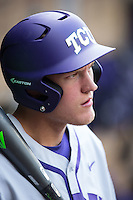 Texas Christian Horned Frogs designated hitter Luken Baker (19) waits for his turn to hit during the game against the Houston Cougars at Minute Maid Park on February 28, 2016 in Houston, Texas.  The Horned Frogs defeated the Cougars 10-1.  (Brian Westerholt/Four Seam Images)