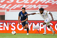 GUADALAJARA, MEXICO - MARCH 28: Sebastian Saucedo #10 of the United Statis high tails it for the goal during a game between Honduras and USMNT U-23 at Estadio Jalisco on March 28, 2021 in Guadalajara, Mexico.
