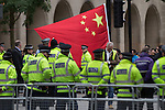 © Joel Goodman - 07973 332324 . 23/10/2015 . Manchester , UK . A large police presence in Albert Square outside Manchester Town Hall waiting for Chinese president , Xi Jinping , who is visiting Manchester as part of his state visit to the United Kingdom . Photo credit : Joel Goodman