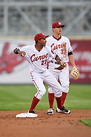 Altoona Curve shortstop Pablo Reyes (27) throws to first base as second baseman Kevin Kramer (37) looks on during a game against the New Hampshire Fisher Cats on May 11, 2017 at Peoples Natural Gas Field in Altoona, Pennsylvania.  Altoona defeated New Hampshire 4-3.  (Mike Janes/Four Seam Images)