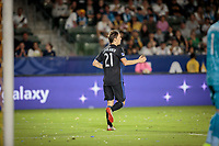 CARSON, CA - SEPTEMBER 21: Lassi Lappalainen #21 of the Montreal Impact celebrates his goal during a game between Montreal Impact and Los Angeles Galaxy at Dignity Health Sports Park on September 21, 2019 in Carson, California.