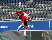 Belgium's Charles De Ketelelaere (14) and Germany's Nico Schlotterbeck (4) battle for the ball during a soccer game between the national teams Under21 Youth teams of Belgium and Germany on the 5th matday in group 9 for the qualification for the Under 21 EURO 2021 , on tuesday 8 th of September 2020  in Leuven , Belgium . PHOTO SPORTPIX.BE   SPP   SEVIL OKTEM