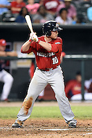 Oklahoma City RedHawks catcher Max Stassi (10) at bat during a game against the Memphis Redbirds on May 23, 2014 at AutoZone Park in Memphis, Tennessee.  Oklahoma City defeated Memphis 12-10.  (Mike Janes/Four Seam Images)