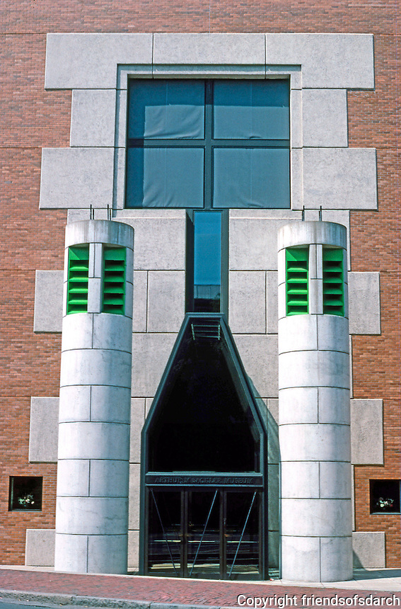 James Stirling & Michael Wilford Assoc.: Sackler Museum, Harvard--Entrance. Echoes of the Lion Gate at Mycenae?