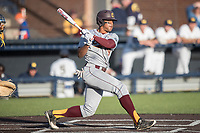 Central Michigan Chippewas outfielder Daniel Robinson (19) follows through on his swing against the Michigan Wolverines on May 9, 2017 at Ray Fisher Stadium in Ann Arbor, Michigan. Michigan defeated Central Michigan 4-2. (Andrew Woolley/Four Seam Images)