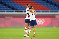 YOKOHAMA, JAPAN - JULY 30: Lynn Williams #21 of the United States celebrates scoring with Tobin Heath #7 during a game between Netherlands and USWNT at International Stadium Yokohama on July 30, 2021 in Yokohama, Japan.