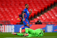 25th March 2021; Wembley Stadium, London, England;  Raheem Sterling England misses a good scoring chance during the World Cup 2022 Qualification match between England and San Marino at Wembley Stadium in London, England.