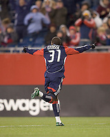 New England Revolution midfielder Sainey Nyassi (31) celebrates his goal. The New England Revolution defeated FC Dallas, 2-1, at Gillette Stadium on April 4, 2009. Photo by Andrew Katsampes /isiphotos.com