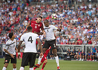 Commerce City, CO - Thursday June 08, 2017: Clint Dempsey, Daneil Cyrus during a 2018 FIFA World Cup Qualifying Final Round match between the men's national teams of the United States (USA) and Trinidad and Tobago (TRI) at Dick's Sporting Goods Park.