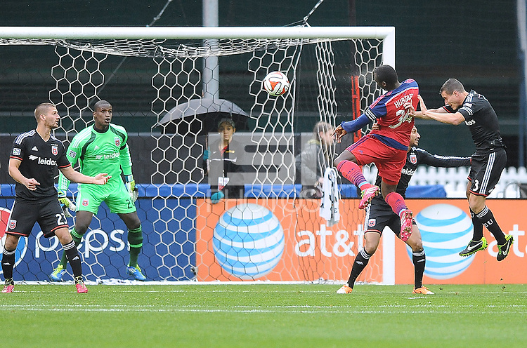 Washington, D.C.- March 29, 2014. Jhon Kennedy Hurtado of the Chicago Fire heads the ball. The Chicago Fire tied D.C. United 2-2 during a Major League Soccer Match for the 2014 season at RFK Stadium.