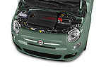 Car Stock 2016 Fiat 500 Sport 3 Door Hatchback Engine  high angle detail view