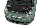 Car Stock 2016 Fiat 500 Sport 3 Door Hatchback Engine  high angle detail view