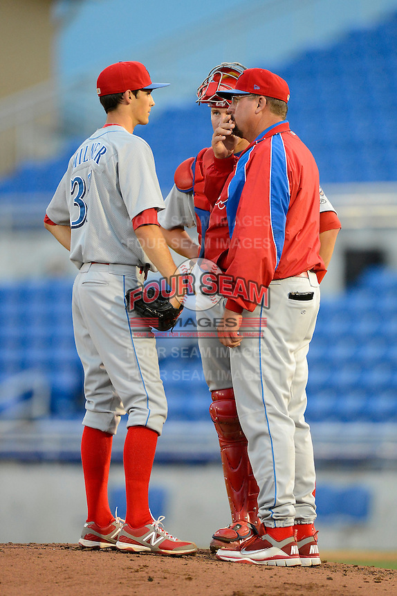 Clearwater Threshers pitching coach Bob Milacki #58 talks with pitcher Hoby Milner #37 and catcher Logan Moore #5 during a game against the Dunedin Blue Jays at Florida Auto Exchange Stadium on April 4, 2013 in Dunedin, Florida.  Dunedin defeated Clearwater 4-2.  (Mike Janes/Four Seam Images)