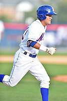 Kingsport Mets shortstop Luis Guillorme #13 runs to first during a game against the Johnson City Cardinals at Hunter Wright Stadium August 24, 2014 in Kingsport, Tennessee. The Mets defeated the Cardinals 9-1. (Tony Farlow/Four Seam Images)
