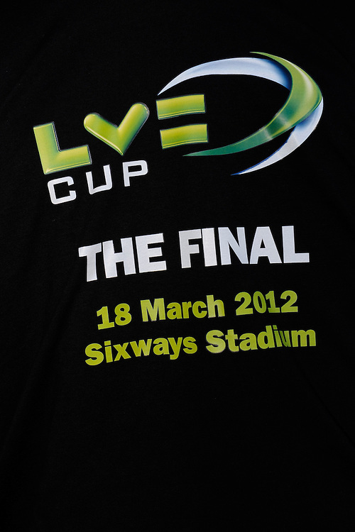 Corporate branding at the LV= Cup Final match between Leicester Tigers and Northampton Saints at Sixways Stadium, Worcester on Sunday 18 March 2012 (Photo by Rob Munro, Fotosports International)