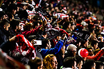 Soccer fans wave banners to show their support to their teams during the La Liga 2018-19 match between Rayo Vallecano and FC Barcelona at Estadio de Vallecas, on November 03 2018 in Madrid, Spain. Photo by Diego Gouto / Power Sport Images