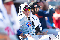 Scottsdale Scorpions infielder Andres Gimenez (13), of the New York Mets organization, in the dugout during an Arizona Fall League game against the Peoria Javelinas at Peoria Sports Complex on October 18, 2018 in Peoria, Arizona. Scottsdale defeated Peoria 8-0. (Zachary Lucy/Four Seam Images)