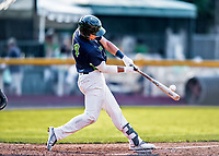 16 July 2017: Vermont Lake Monsters first baseman  Aaron Arruda, a 12th round draft pick for the Oakland Athletics, hits his first professional career home run, a solo shot to left, in the 5th inning against the Auburn Doubledays at Centennial Field in Burlington, Vermont. The Monsters defeated the Doubledays 6-3 in NY Penn League action. Mandatory Credit: Ed Wolfstein Photo *** RAW (NEF) Image File Available ***