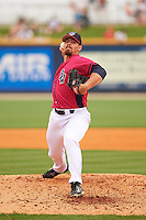Pensacola Blue Wahoos pitcher Kyle McMyne (28) delivers a pitch during the first game of a double header against the Biloxi Shuckers on April 26, 2015 at Pensacola Bayfront Stadium in Pensacola, Florida.  Biloxi defeated Pensacola 2-1.  (Mike Janes/Four Seam Images)