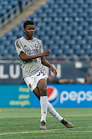 FOXBOROUGH, MA - AUGUST 7: Thomas Williams #68 of Orlando City B warms up before a game between Orlando City B and New England Revolution II at Gillette Stadium on August 7, 2020 in Foxborough, Massachusetts.