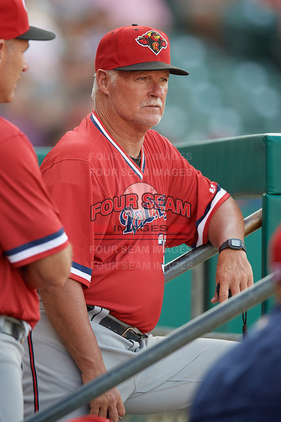 Rochester Red Wings pitching coach Stu Cliburn (33) in the dugout during a game against the Indianapolis Indians on July 24, 2018 at Victory Field in Indianapolis, Indiana.  Rochester defeated Indianapolis 2-0.  (Mike Janes/Four Seam Images)