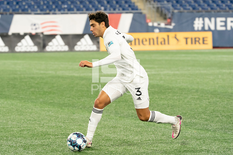 FOXBOROUGH, MA - OCTOBER 09: Sami Guediri #3 of Fort Lauderdale CF during a game between Fort Lauderdale CF and New England Revolution II at Gillette Stadium on October 09, 2020 in Foxborough, Massachusetts.
