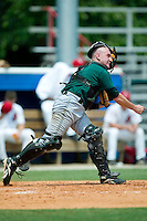 Princeton Devil Rays catcher Craig Albernaz fires a throw to second baset versus the Burlington Indians at Burlington Athletic Park in Burlington, NC, Wednesday, July 19, 2006.