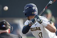 Michigan Wolverines third baseman Drew Lugbauer (17) at bat during the NCAA baseball game against the Eastern Michigan Eagles on May 16, 2017 at Ray Fisher Stadium in Ann Arbor, Michigan. Michigan defeated Eastern Michigan 12-4. (Andrew Woolley/Four Seam Images)