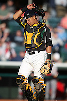 April 10, 2010:  Catcher Hector Gimenez of the Altoona Curve during a game at Blair County Ballpark in Altoona, PA.  Altoona is the Double-A Eastern League affiliate of the Pittsburgh Pirates.  Photo By Mike Janes/Four Seam Images
