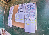 4 September 2017: The Vermont Lake Monsters have the Lineup Cards and stat sheets ready in the dugout prior to the first game of a double-header against the Tri-City ValleyCats at Centennial Field in Burlington, Vermont. The teams split their day, with Tri-City winning 6-5 in the first game, and the Lake Monsters taking the second 7-4 in NY Penn League action. Mandatory Credit: Ed Wolfstein Photo *** RAW (NEF) Image File Available ***
