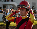 OLDSMAR, FLORIDA - FEBRUARY 11: Julien Leparoux (red hat), in the paddock, prior to the Sam F. Davis Stakes at Tampa Bay Downs on February 11, 2017 in Oldsmar, Florida (photo by Douglas DeFelice/Eclipse Sportswire/Getty Images)
