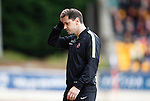 St Johnstone v Dundee United...26.09.15  SPFL   McDiarmid Park, Perth<br /> Head scratching time for Jackie McNamara<br /> Picture by Graeme Hart.<br /> Copyright Perthshire Picture Agency<br /> Tel: 01738 623350  Mobile: 07990 594431