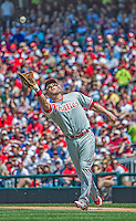 26 May 2013: Philadelphia Phillies first baseman Laynce Nix in action against the Washington Nationals at Nationals Park in Washington, DC. The Nationals defeated the Phillies 6-1, taking the rubber game of their 3-game weekend series. Mandatory Credit: Ed Wolfstein Photo *** RAW (NEF) Image File Available ***
