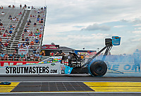 Jul 19, 2020; Clermont, Indiana, USA; NHRA top fuel driver Justin Ashley during the Summernationals at Lucas Oil Raceway. Mandatory Credit: Mark J. Rebilas-USA TODAY Sports