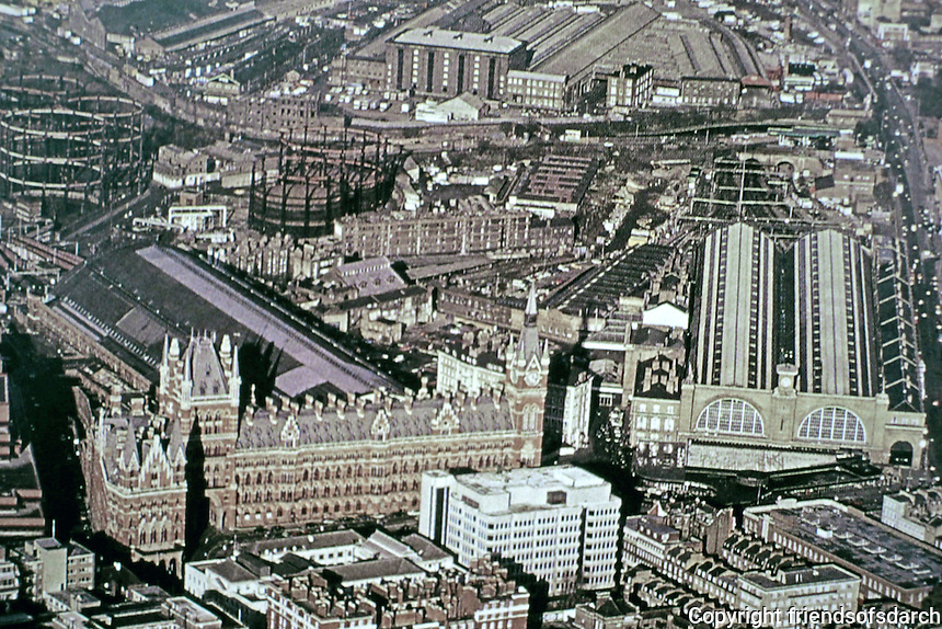 King's Cross and St. Pancras Stations, London. Aerial view.