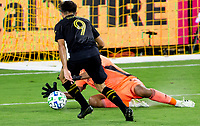 LOS ANGELES, CA - SEPTEMBER 02: Daniel Vega #17 GK of the San Jose Earthquakes makes a save during a game between San Jose Earthquakes and Los Angeles FC at Banc of California stadium on September 02, 2020 in Los Angeles, California.