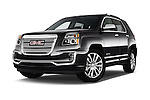 Stock pictures of low aggressive front three quarter view of 2017 GMC Terrain FWD-Denali 5 Door SUV Low Aggressive