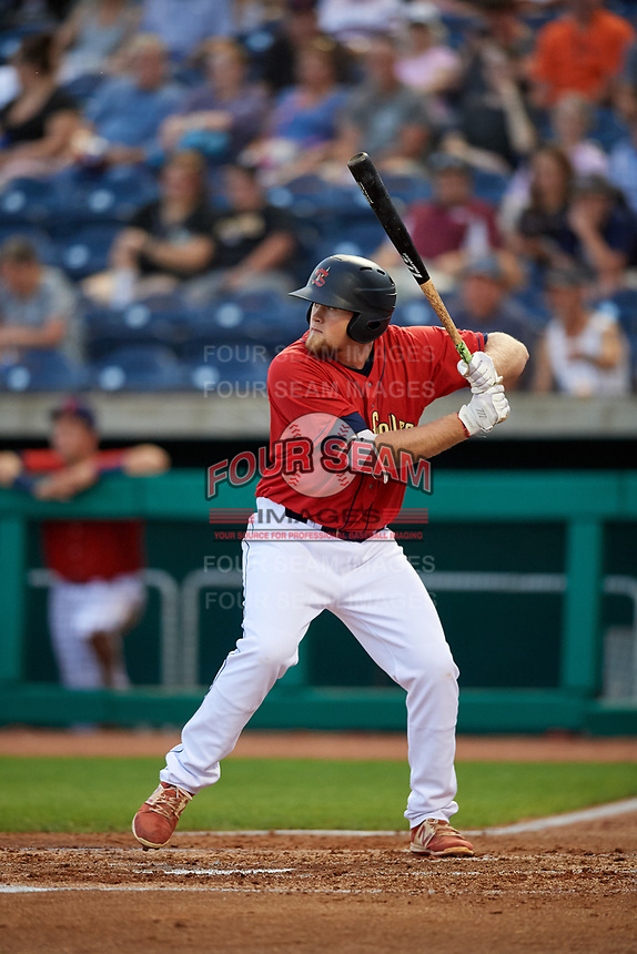 State College Spikes designated hitter Walker Robbins (39) at bat during a game against the West Virginia Black Bears on August 30, 2018 at Medlar Field at Lubrano Park in State College, Pennsylvania.  West Virginia defeated State College 5-3.  (Mike Janes/Four Seam Images)
