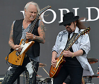 FORT LAUDERDALE, FL - APRIL 16: Rickey Medlocke, Gary Rossington of Lynyrd Skynyrd performs onstage during Tortuga Music Festival on April 16, 2016 in Fort Lauderdale, Florida.<br /> <br /> People:  Rickey Medlocke, Gary Rossington<br /> <br /> Transmission Ref:  FLXX<br /> <br /> Must call if interested<br /> Michael Storms<br /> Storms Media Group Inc.<br /> 305-632-3400 - Cell<br /> 305-513-5783 - Fax<br /> MikeStorm@aol.com<br /> www.StormsMediaGroup.com