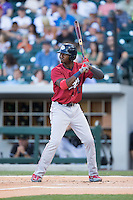 Domonic Brown (12) of the Lehigh Valley IronPigs at bat against the Charlotte Knights at BB&T BallPark on May 30, 2015 in Charlotte, North Carolina.  The IronPigs defeated the Knights 1-0.  (Brian Westerholt/Four Seam Images)