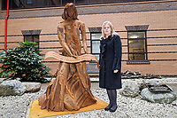 "Pictured: Artist Sarah Tombs. Monday 05 February 2018<br /> Re: A sculpture has been unveiled at Welsh Centre for Burns and Plastic Surgery in Morriston Hospital to commemorate its links with Port Talbot steelworks in Wales, UK.<br /> It was inspired by Welsh mythology and created from Tata steel by artist Sarah Tombs.<br /> The sculpture is of the legendary Lady of Llyn y Fan Fach and was unveiled by Abertawe Bro Morgannwg health board to mark the 70th birthday of the NHS.<br /> According to the Mabinogion and The Red Book of Hergest, she was mother of the Physicians of Myddfai, who used magical powers to heal the sick and symbolises ""regeneration and healing""."