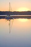 Sailing, Sloop at anchor, Puget Sound, Deas Inlet, sunrise, Silverdale, Washington State, Pacific Northwest, Seattle area,