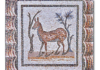 3rd century AD Roman mosaic depiction of two deer between two shrubs. Thysdrus (El Jem), Tunisia.  The Bardo Museum, Tunis, Tunisia.