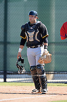 Pittsburgh Pirates catcher Mike Spano (55) during a minor league spring training game against the Philadelphia Phillies on March 18, 2014 at the Carpenter Complex in Clearwater, Florida.  (Mike Janes/Four Seam Images)