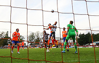 Craig Disley of Grimsby Town hits the bar in the final minutes of the Vanarama National League match between Braintree Town and Grimsby Town at the Amlin Stadium, Braintree, England on 10 October 2015. Photo by PHC Images.