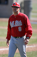 April 5, 2009:  Head Coach Greg Beals (9) of the Ball State Cardinals during a game at Amherst Audubon Field in Buffalo, NY.  Photo by:  Mike Janes/Four Seam Images