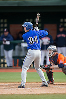 D.J. Ruhlman (34) of the Seton Hall Pirates at bat against the Virginia Cavaliers at The Ripken Experience on February 28, 2015 in Myrtle Beach, South Carolina.  The Cavaliers defeated the Pirates 4-1.  (Brian Westerholt/Four Seam Images)