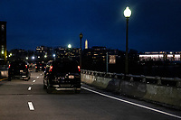 United States President Joe Bidens' motorcade drives along the Whitehurst Freeway in Georgetown after the President attended Mass at Holy Trinity Catholic Church in Washington, D.C., U.S., on Friday, February 20, 2021. <br /> Credit: Samuel Corum / Pool via CNP /MediaPunch